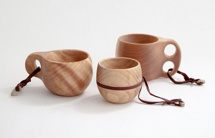 so much nicer to hold than enamel, I love these Finnish wooden camping mugs.