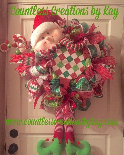 Red & Green Christmas Elf Wreath