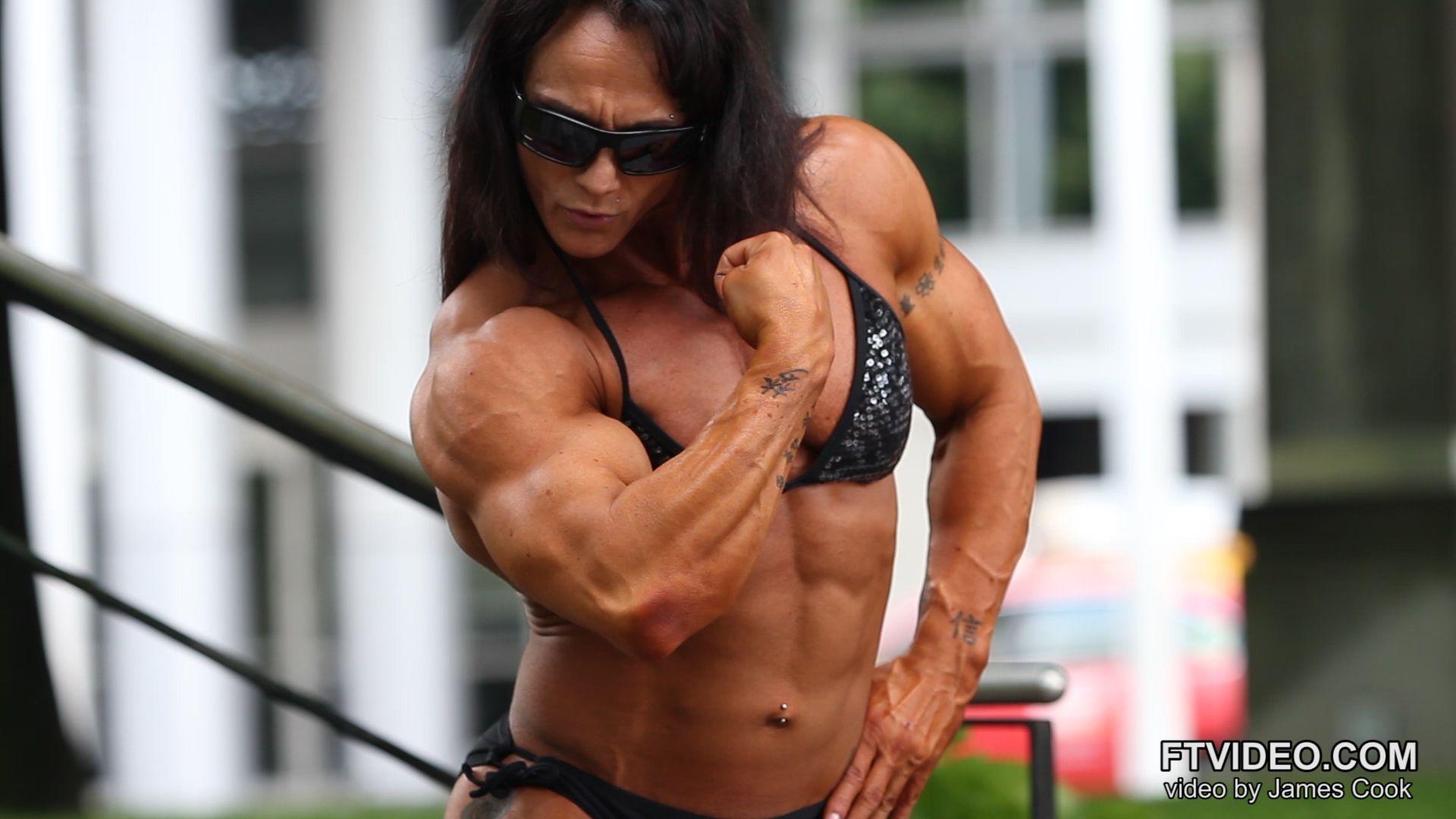 Female body builder video clip