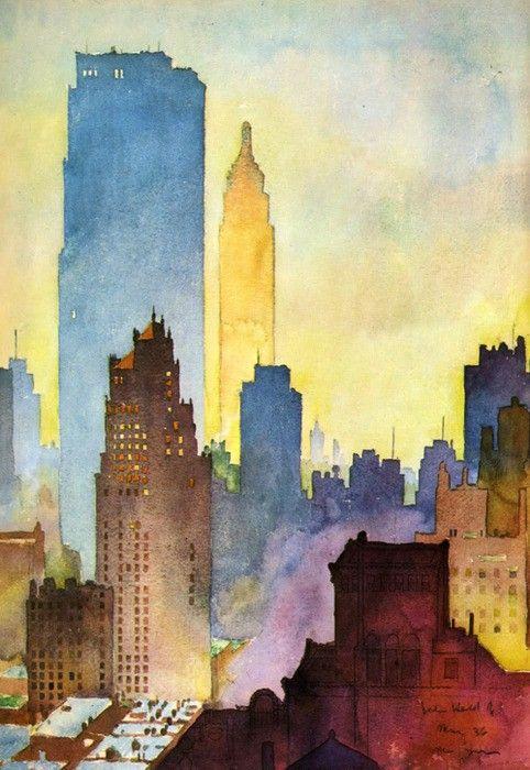 Watercolor of the New York skyline by John Held, Jr. (American, 1889–1958)