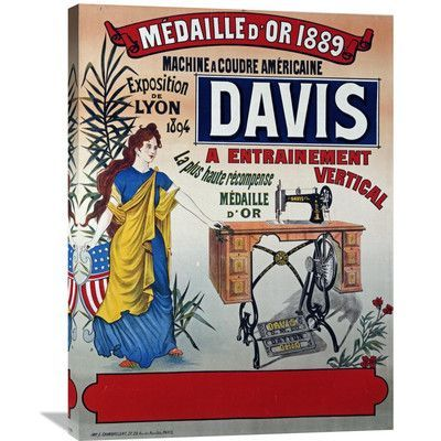 Global Gallery 'Davis, Machine a Coudre Americaine' Vintage Advertisement on Wrapped Canvas Size: