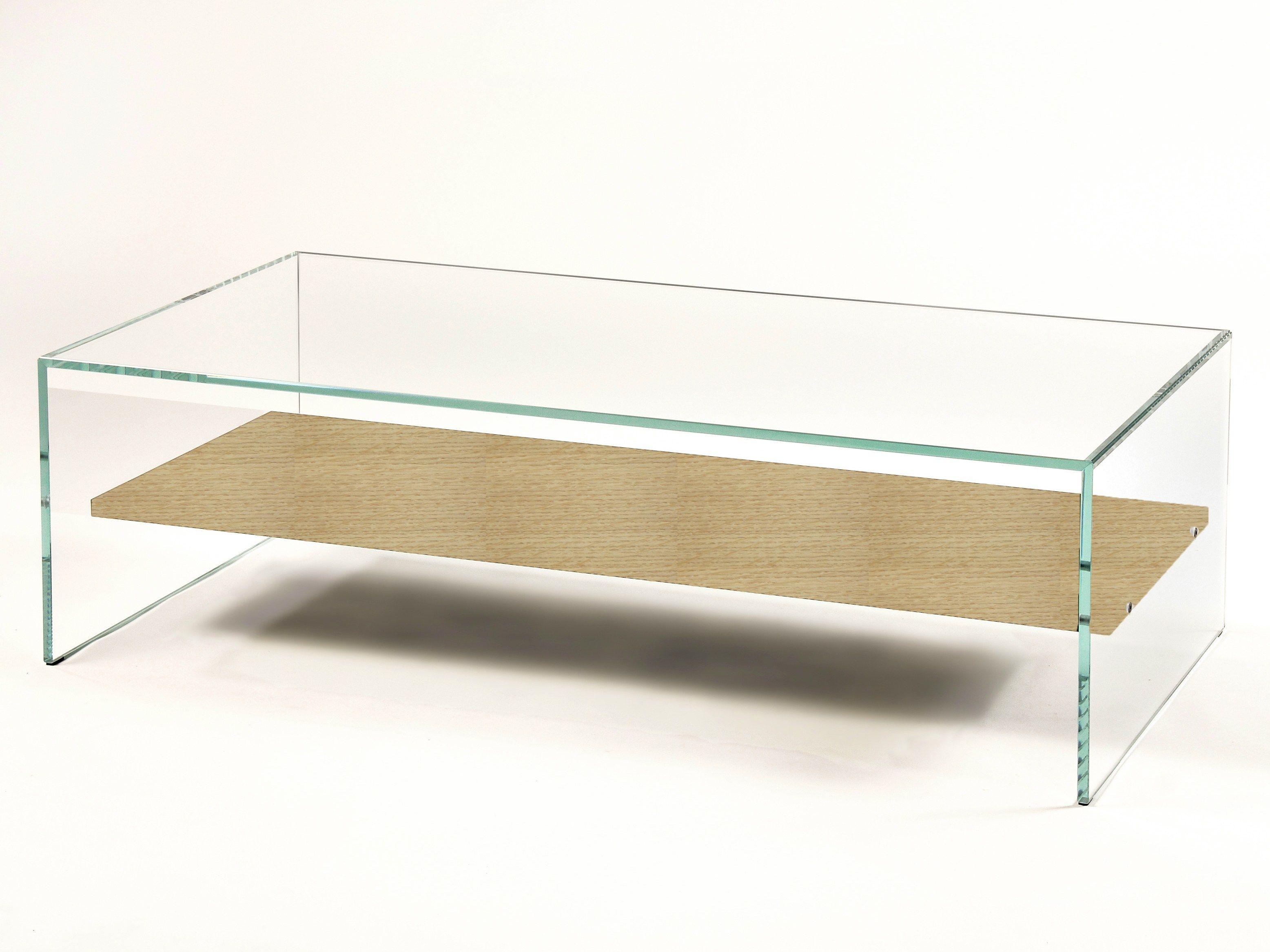 Table Basse Avec Plateau Bois, Verre Trempé Extra Clair TRANSPARENCE   ZEN  1 By Adentro