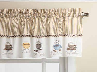 Lorraine Home Fashions Java Tailored Valance Embroidered Cups Of Steaming Espresso And Fro House Styles Country Kitchen Curtains Kitchen Decor Themes Coffee