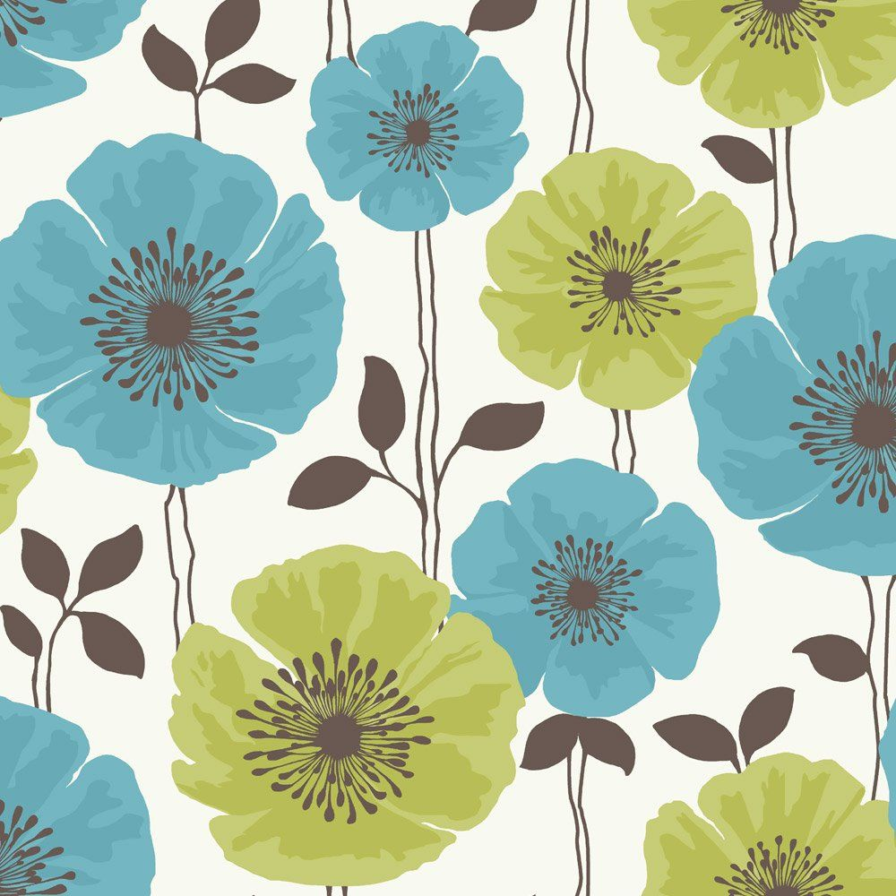 Teal and Pink Flower Backgrounds Fine Decor ‹ View