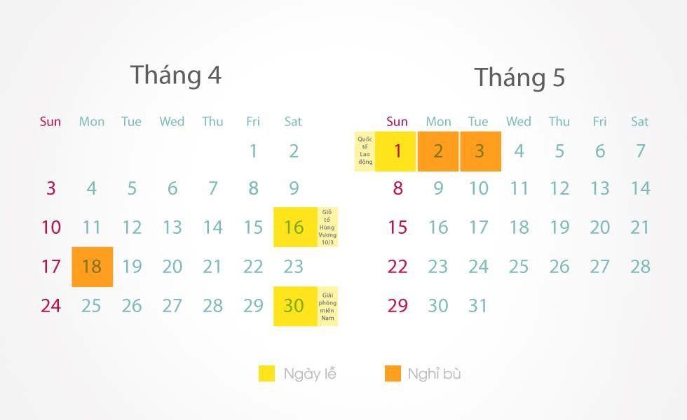 Lịch nghỉ lễ chính thức ngày Giỗ Tổ Hùng Vương, lễ 30/4 và 1/5 năm 2016
