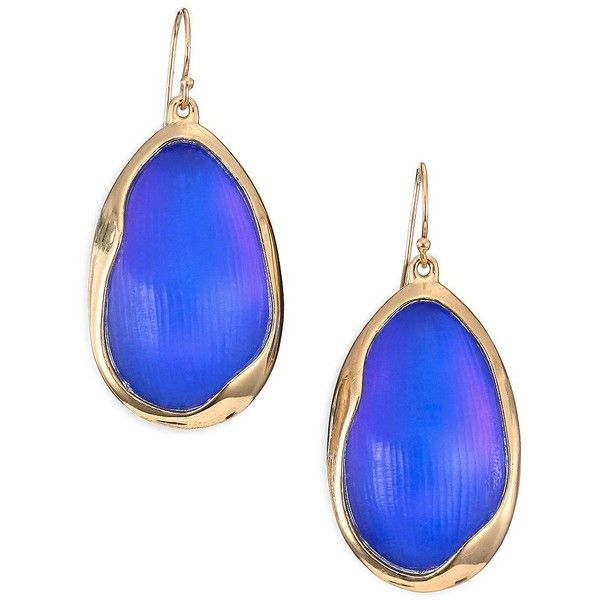 Alexis Bittar Lucite Liquid Oval Drop Earrings/Blue ($160) ❤ liked on Polyvore featuring jewelry, earrings, apparel & accessories, blue jewellery, womens jewellery, lucite earrings, acrylic earrings and blue jewelry