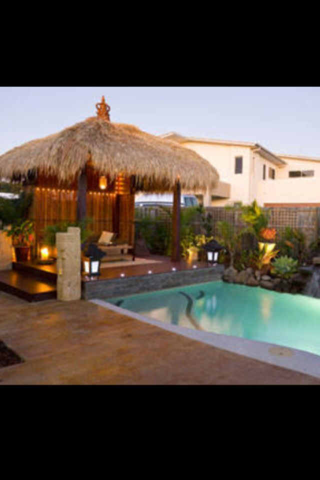 Bali hut over the pool deck need some shelter from the for Pool hut designs