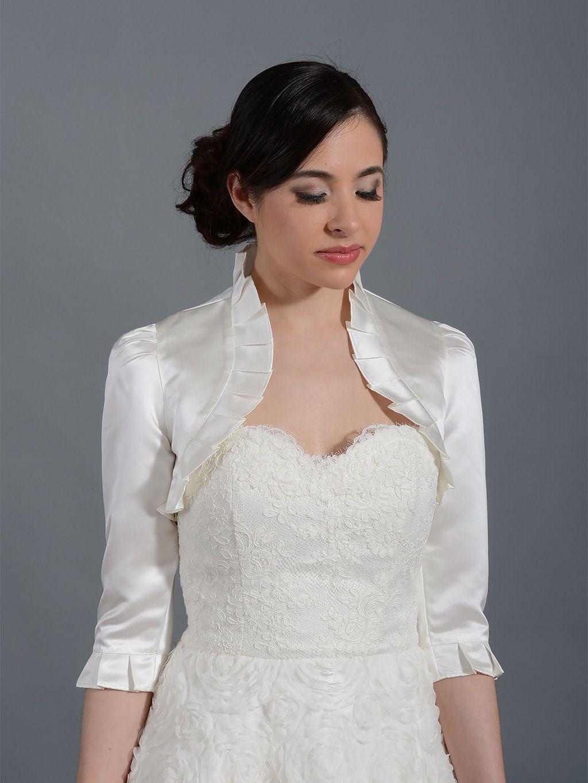 White Satin Bolero,Bridal Bolero,Satin Wedding Jacket Short Sleeves Plus Size Bridal Shrug