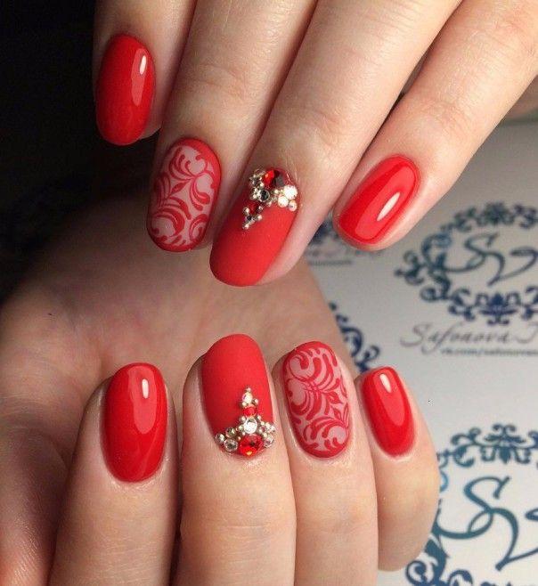 Ногти короткие красные дизайн