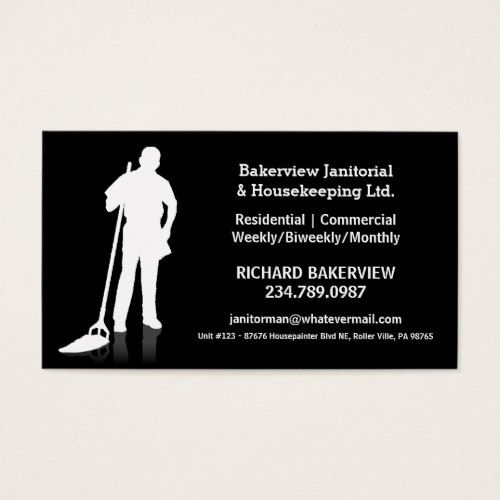 Pro Janitorial or Housekeeping Cleaning Service Business Card - business card resume