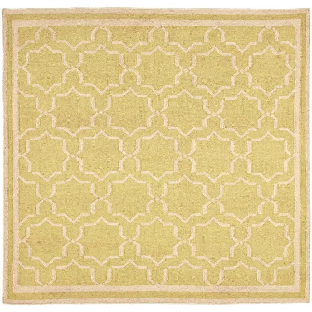 Dhurries Light Green/Ivory 8 ft. x 8 ft. Square Area Rug   8 ...