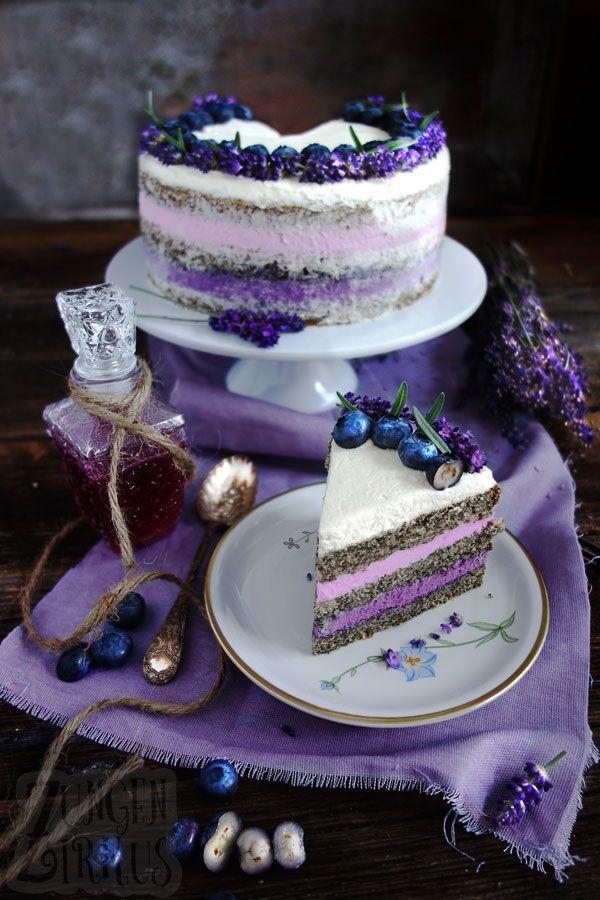 Naked Cake mit Lavendel und Heidelbeeren - Zungenzirkus