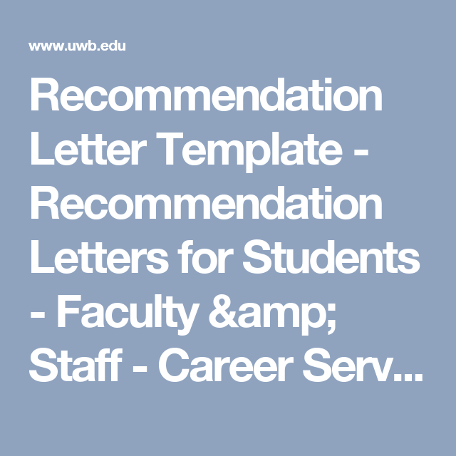 Recommendation Letter Template  Recommendation Letters For