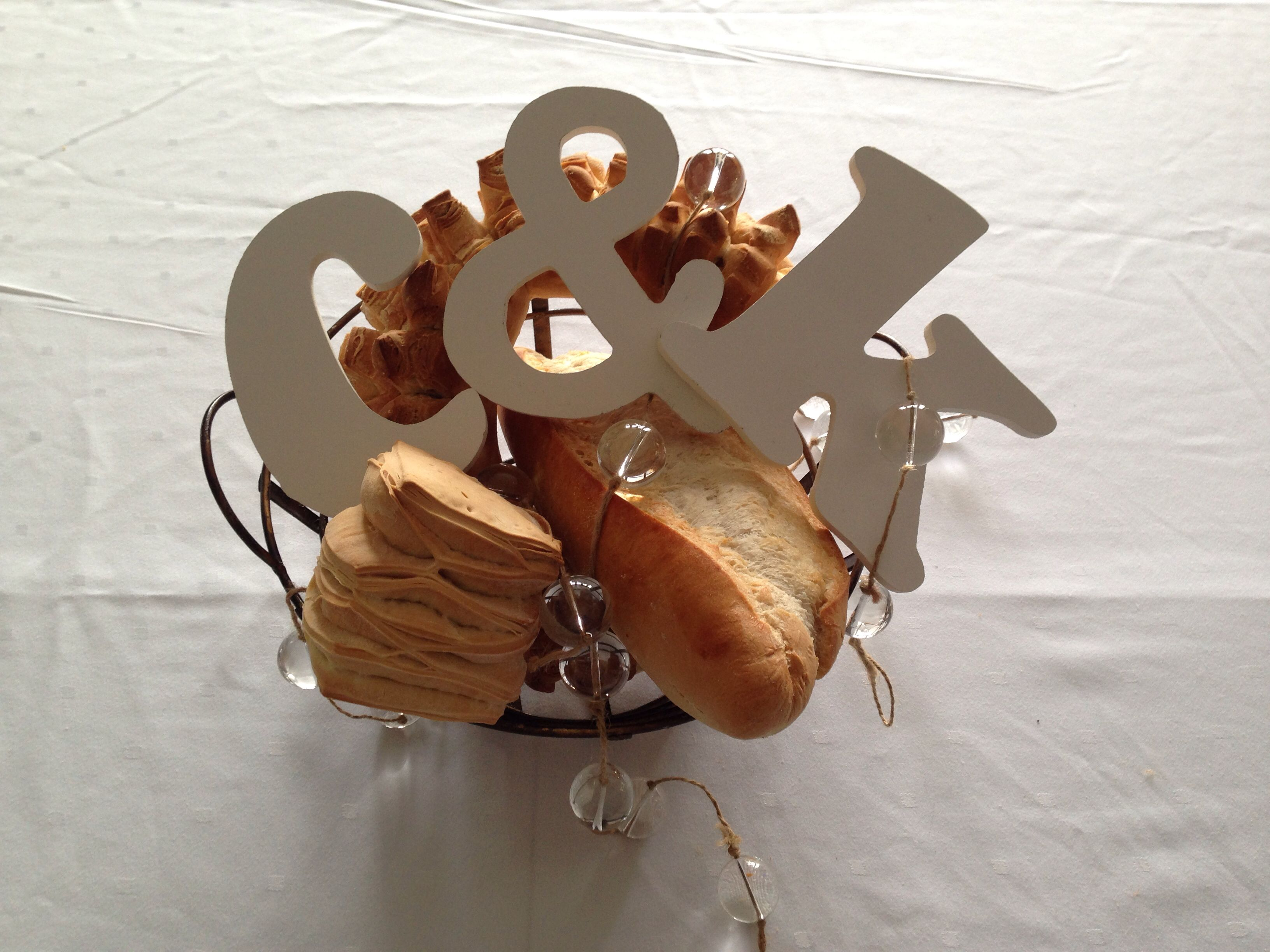 Bread and letters center piece