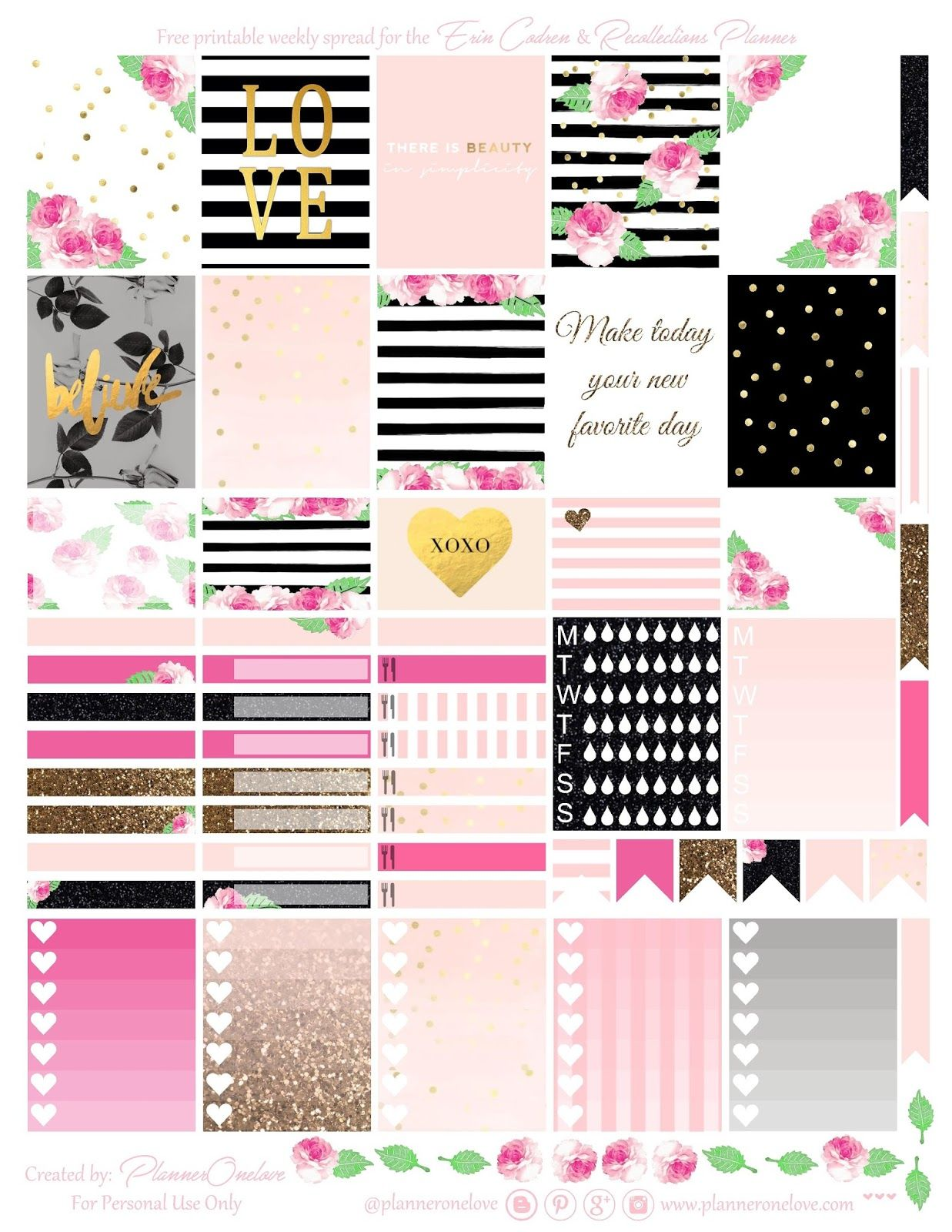 Free printable roses stripes planner stickers page one from planner onelove