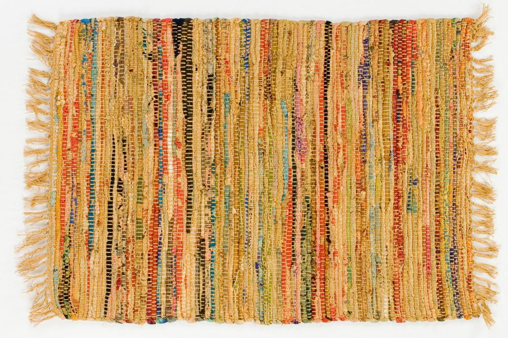Country Rag Rug Runner In Mustard Color 24 X 72 100 Cotton Carpet