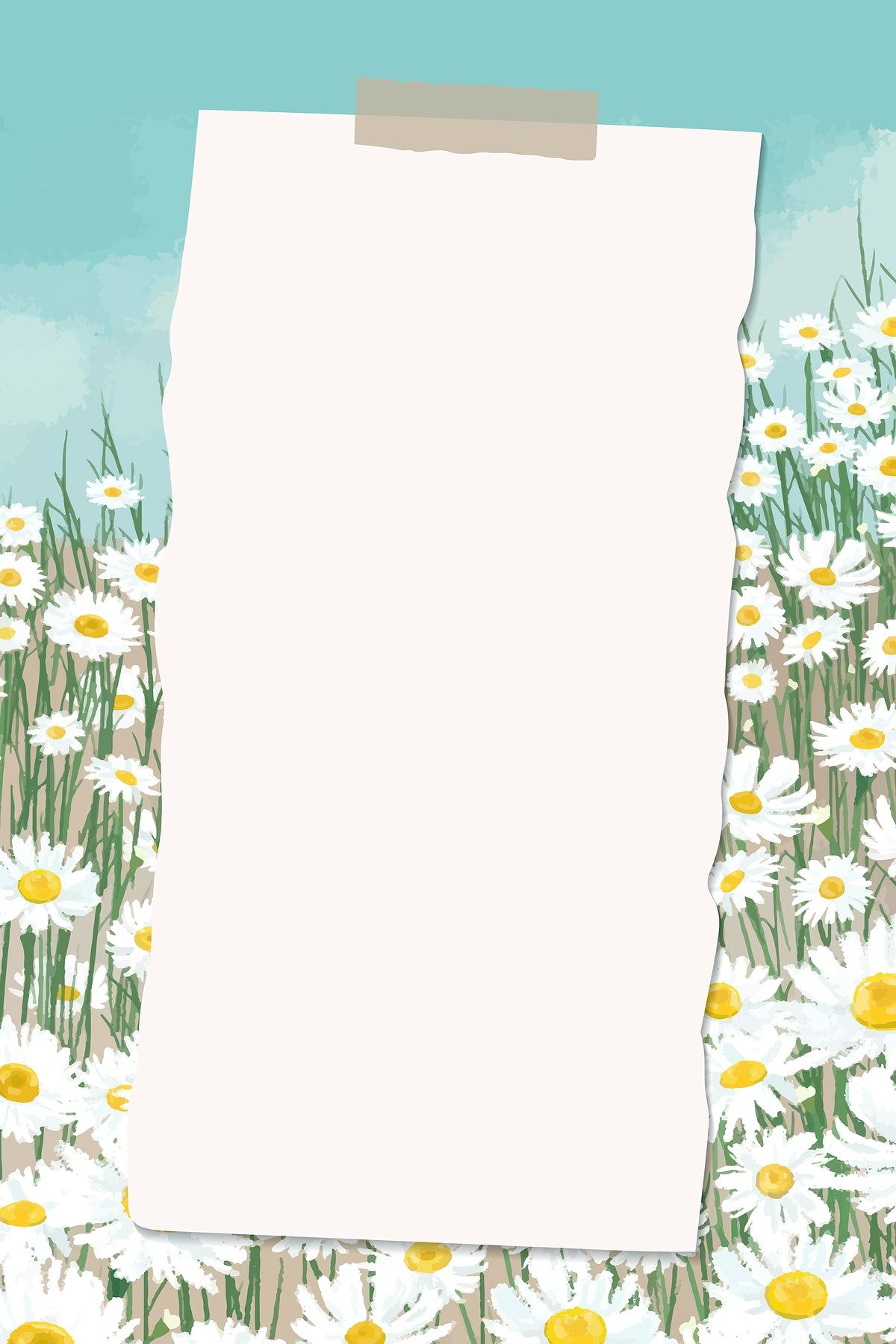 Download premium vector of Empty paper on daisy field patterned background vector by marinemynt about daisy, spring poster, Daisy illustration, page, and frame paper 2043947