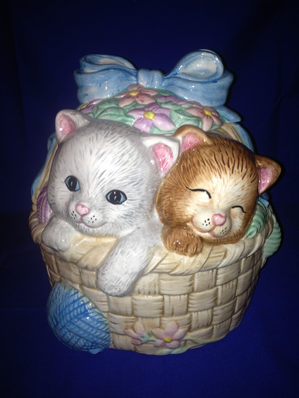 Old Unusual Rare Ceramic Cat Kitten Kitty Kittens Flower Basket Cookie Jar Antique Cookie Jars Cookie Jars Vintage Cookie Jars