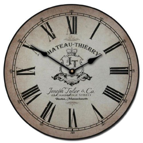 Amazon.com: Chateau Thierry Parchment Wall Clock, Available In 8 Sizes,  Whisper Quiet, Non Ticking: Home U0026 Kitchen