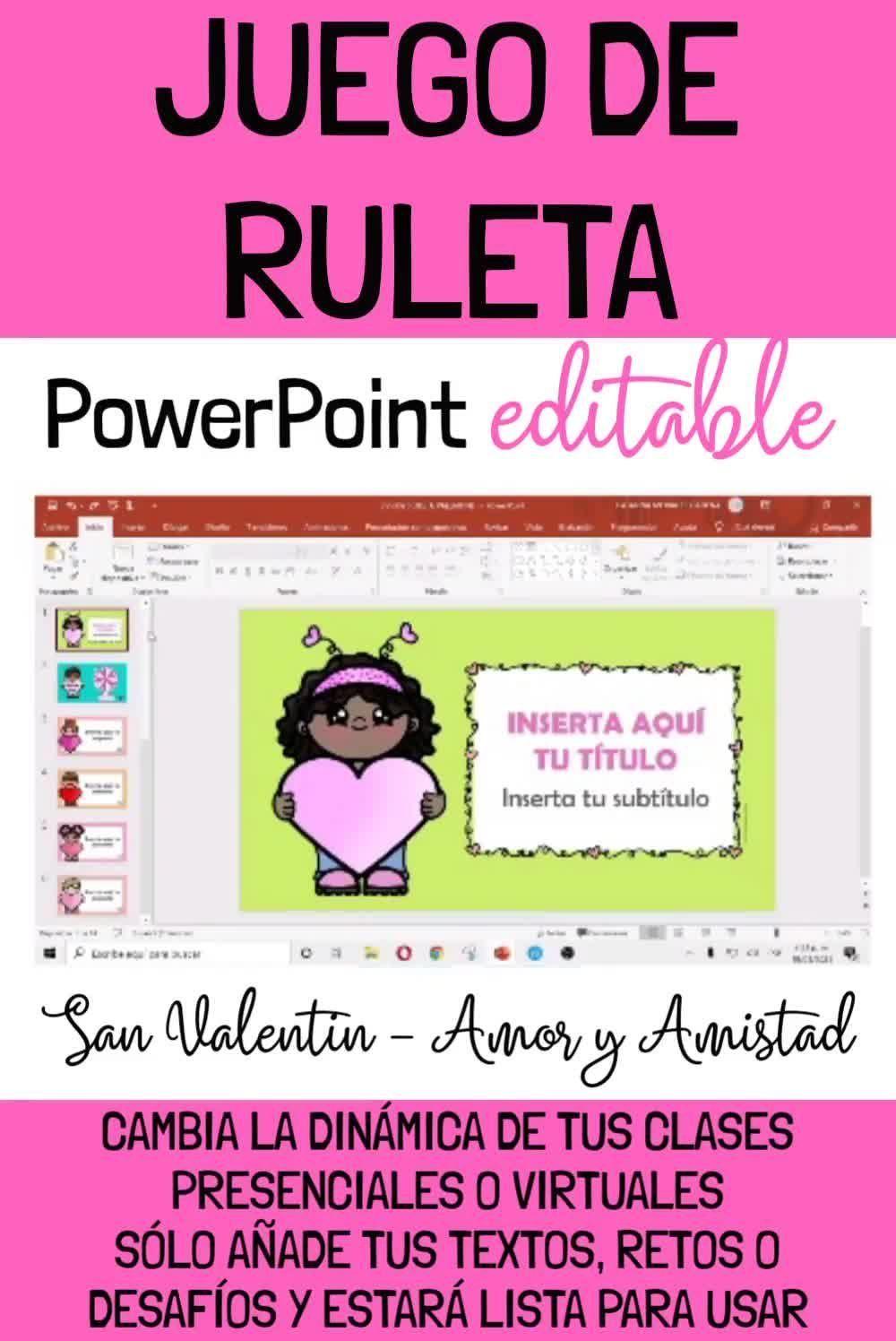 Juego De Ruleta Interactivo Valentines Day San Valentin Powerpoint Editable Video Video In 2021 Powerpoint Teacherspayteachers Meraki