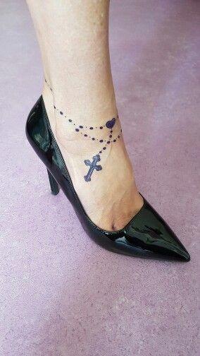 Rosary Foot Tattoo Tatuaje Con Un Rosario En El Pie Color Morado