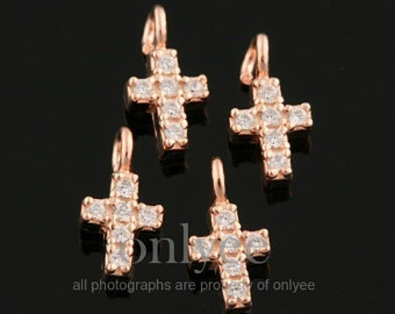 2pcs-7mmX4mm Original Gold plated 92.5 Sterling Silver, Mini Cross Mouse Charm pendant,jewelry penda