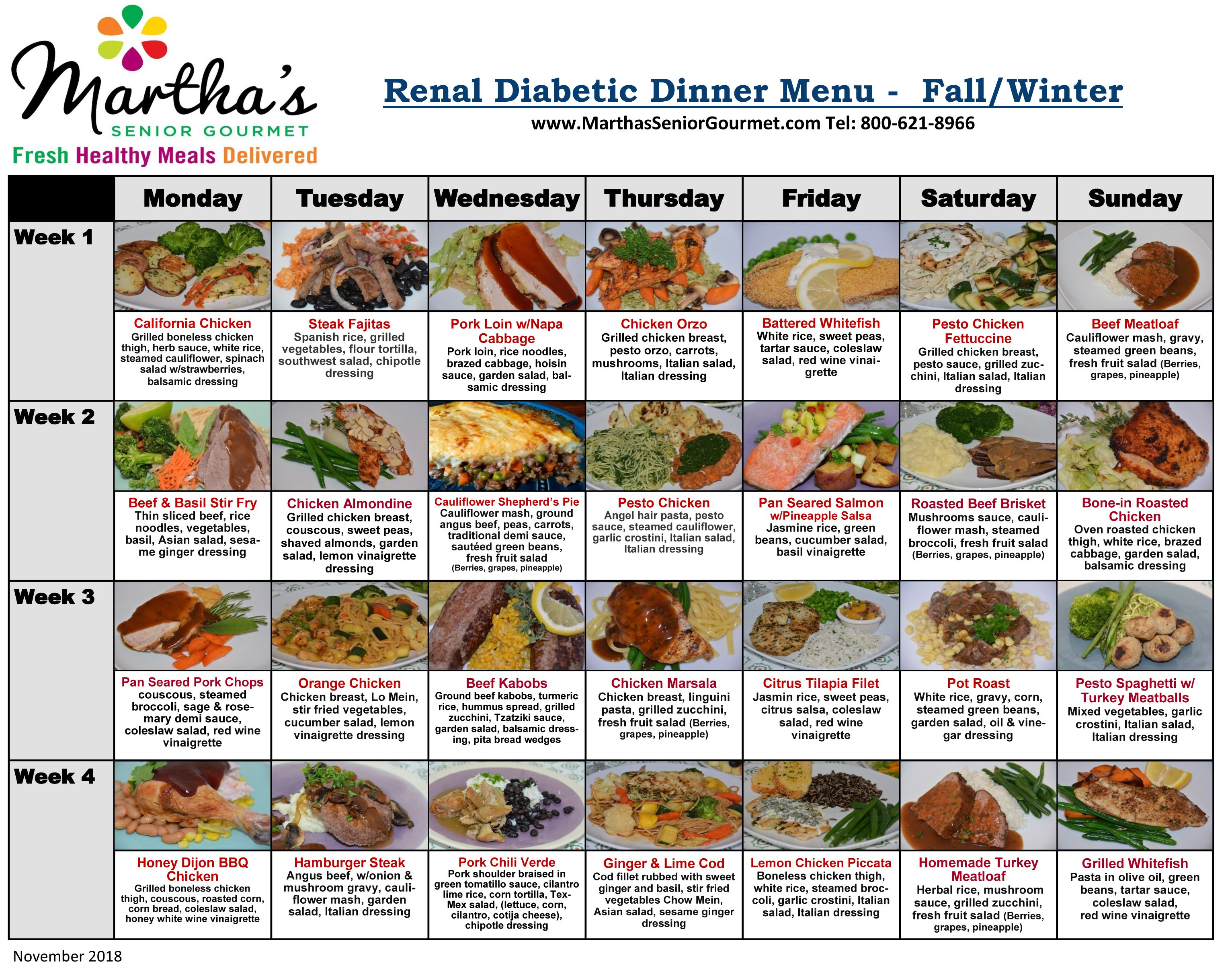 Renal - Diabetic Menu  Kidney friendly foods, Renal diet recipes