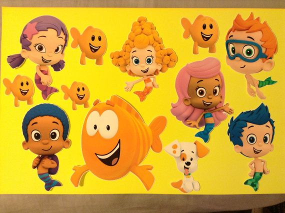 Set of 7 Bubble Guppies Removable Wall Decal Stickers 6\