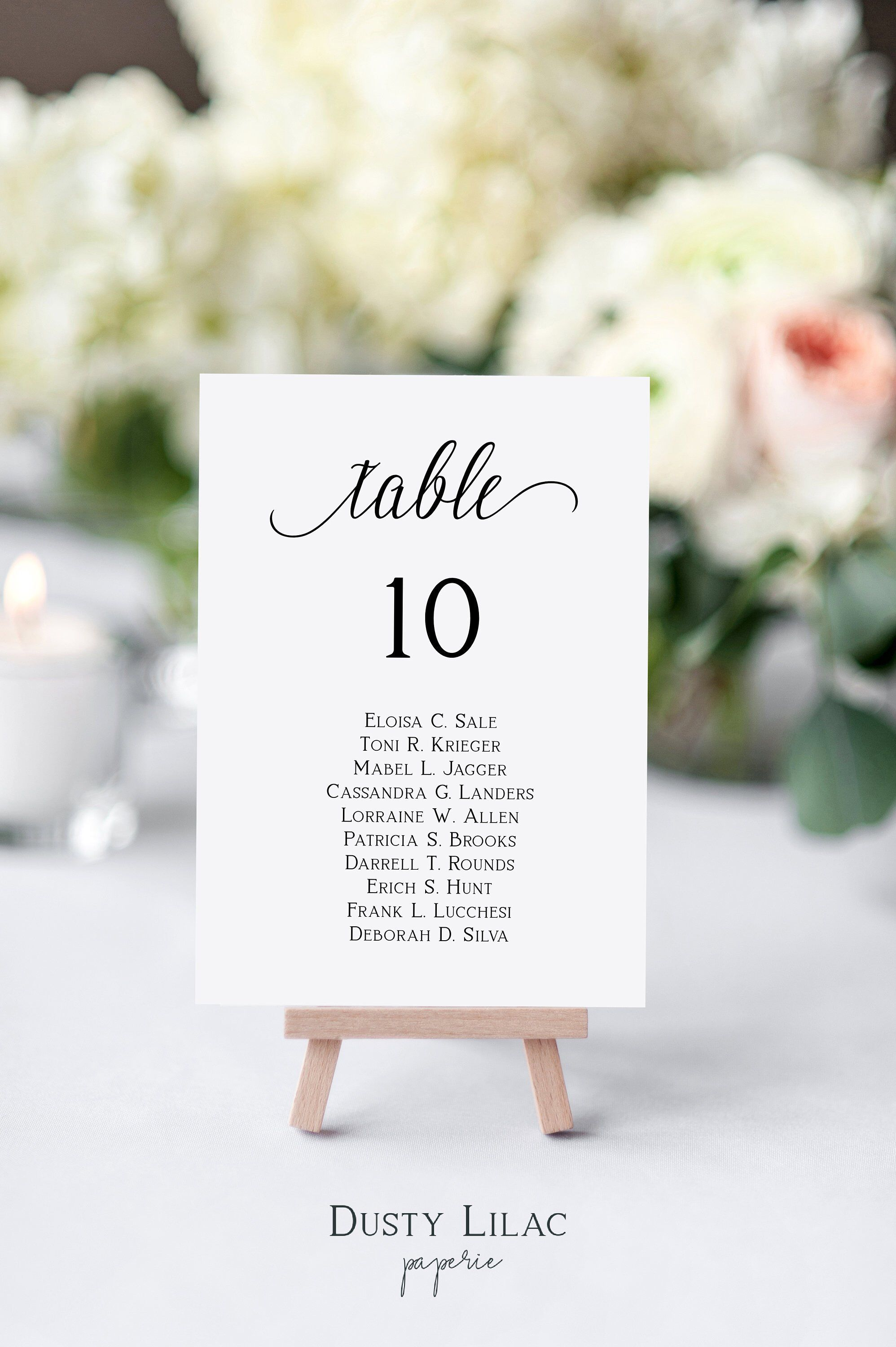 Wedding Table Number Seating Chart Cards Template Editable Modern