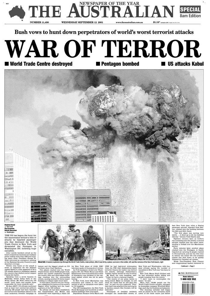 Australian Newspaper 9/11 | History: 9/11 | Pinterest | Australian