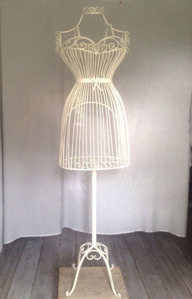 white metal bird cage MANNEQUIN DRESS FORM shabby chic bow ...