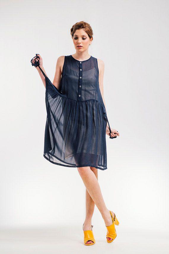 Blaue reine Wrap Kleid, abknöpfbarer Sommerkleid, Party Kleid, SALE 30 % Rabatt by NoteFashion on Etsy