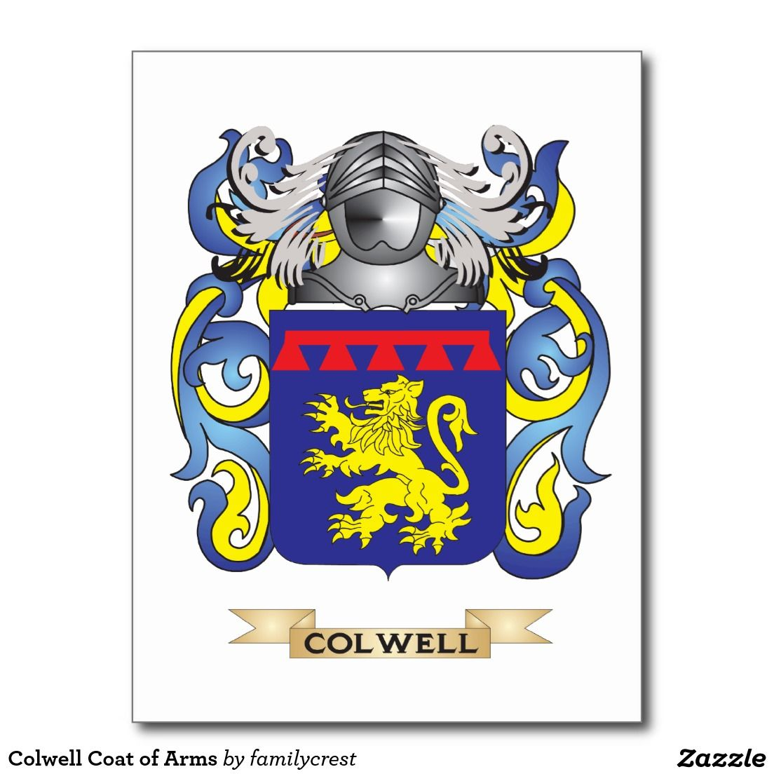 Colwell Coat of Arms Postcard | Zazzle com | Fun Gift Ideas