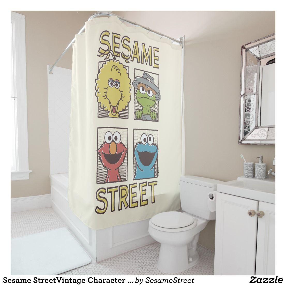 Sesame Streetvintage Character Comic Shower Curtain Zazzle Com