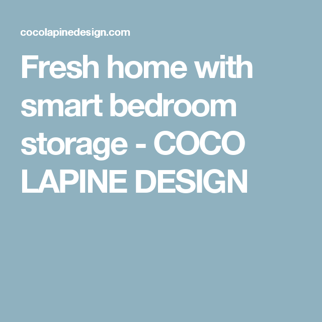 Fresh Home With Smart Bedroom Storage