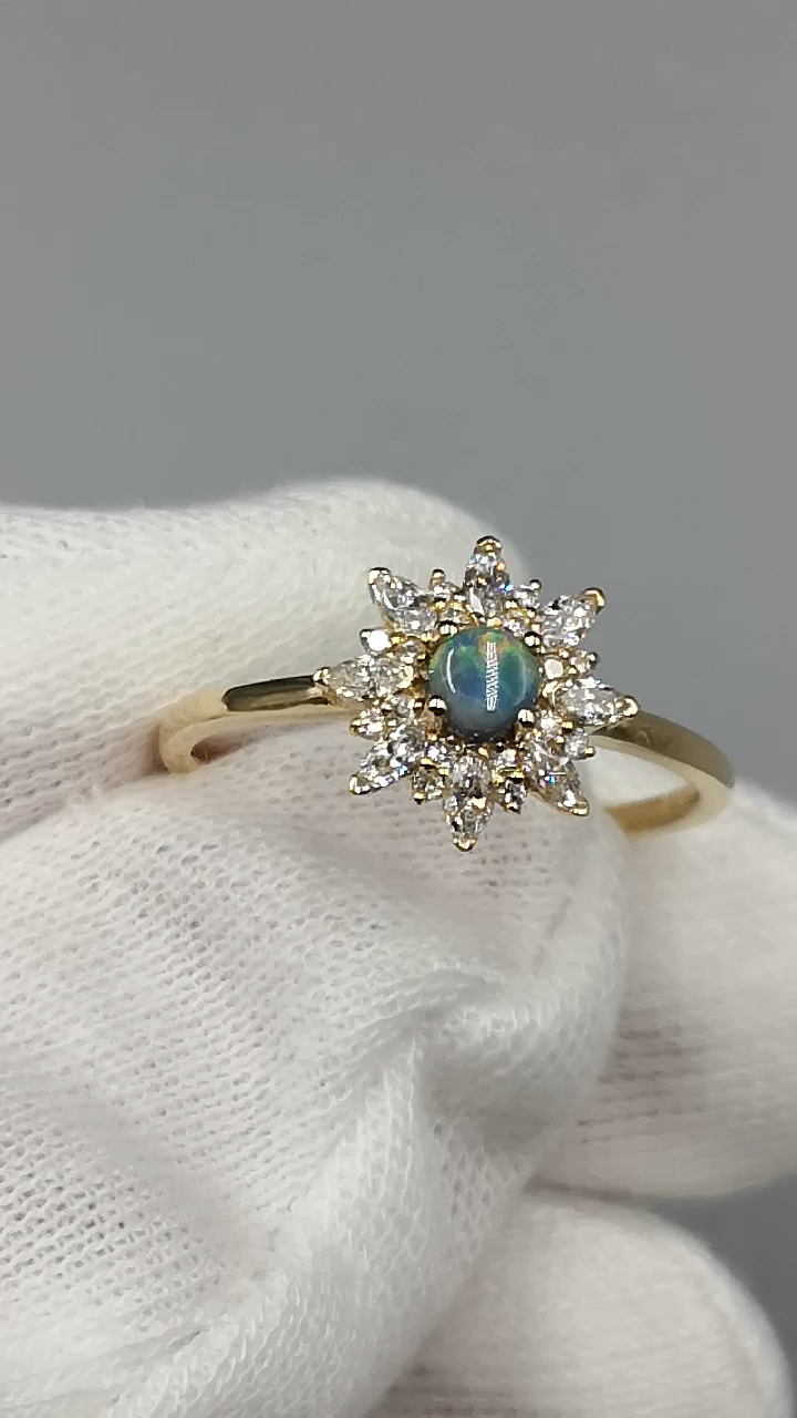 Australian Black Opal Engagement Diamond Ring Unique Design