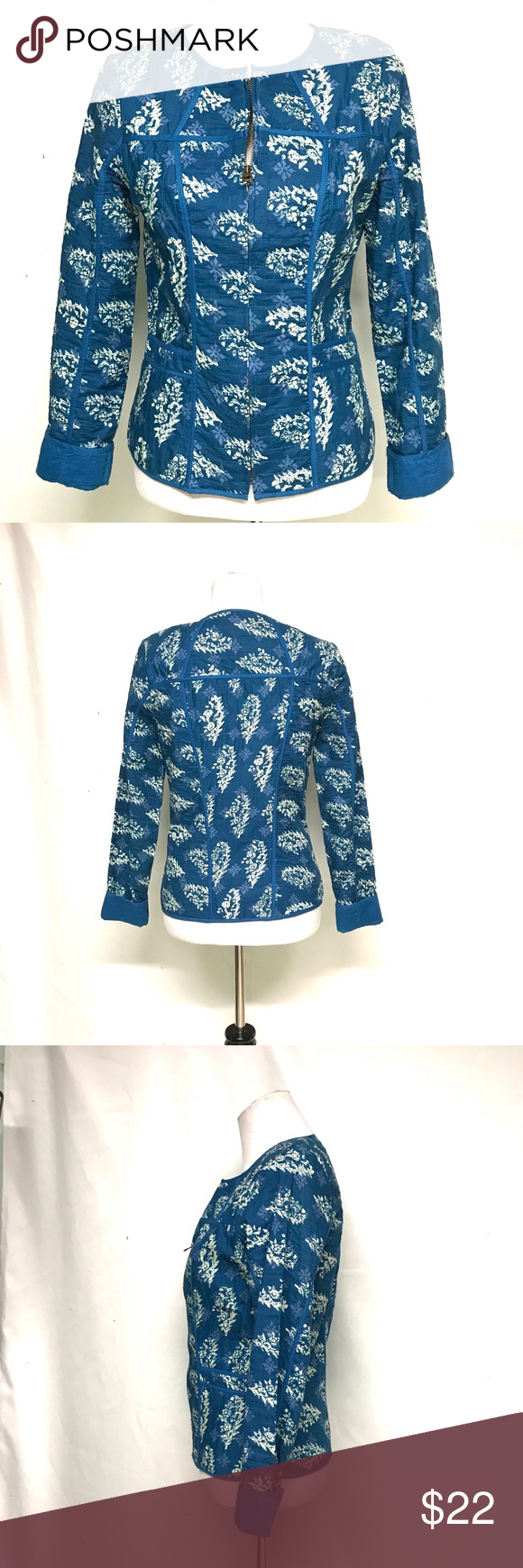 Lucky brand blue and ivory quilted jacket Vintage looking