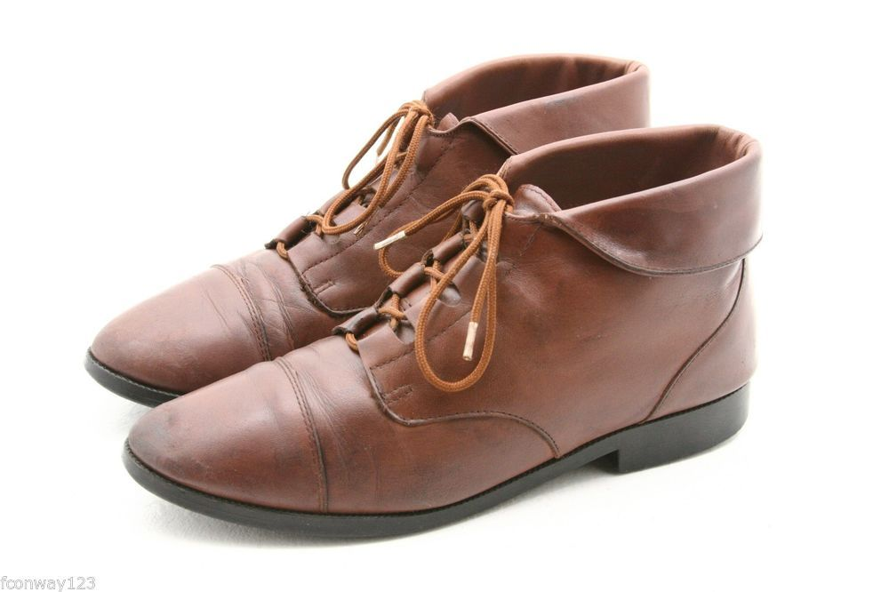 f519fa2dd Prima Royale womens dress Boots Size 9 brown leather cuffed ankle lace up  #PrimaRoyale #FashionAnkle