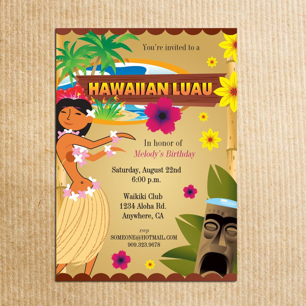 Hawaiian Luau Party Invitation Stationery by razzledazzledesign – Custom Party Invitation