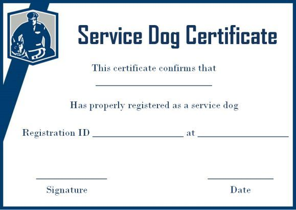 Service dog certificate template free service dog certificate templates pinterest service for Service dog certificate template