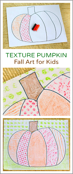 Fall Art Projects for Kids: Textured Pumpkins Using Crayon Rubbings - Buggy and Buddy