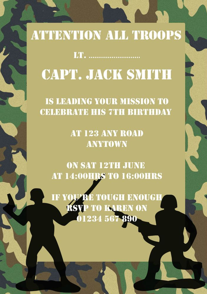10 personalised army military birthday party invitations | Party ...