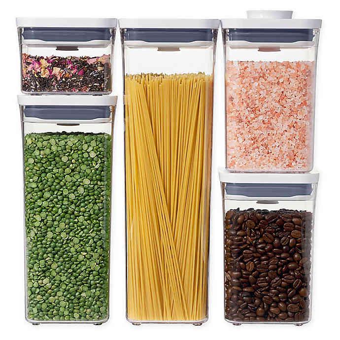 Oxo Good Grips Pop 5 Piece Food Storage Container Set In White In 2020 Food Container Set Food Storage Container Set Airtight Food Storage