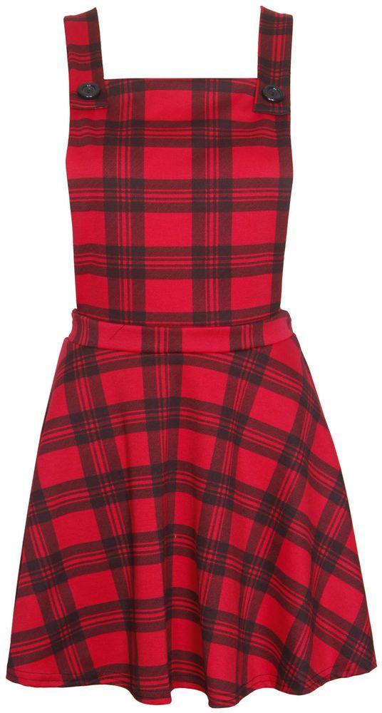 b4308c5dd5 Womens Tartan Check Dungaree Ladies Pinafore Skater Skirt Mini Dress ...