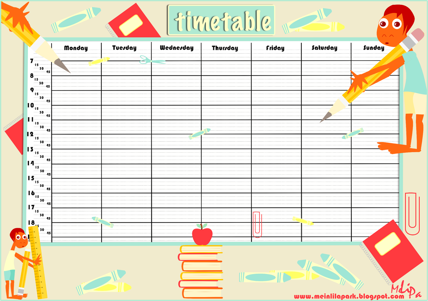Free Printable School Timetable And School Scrabpooking