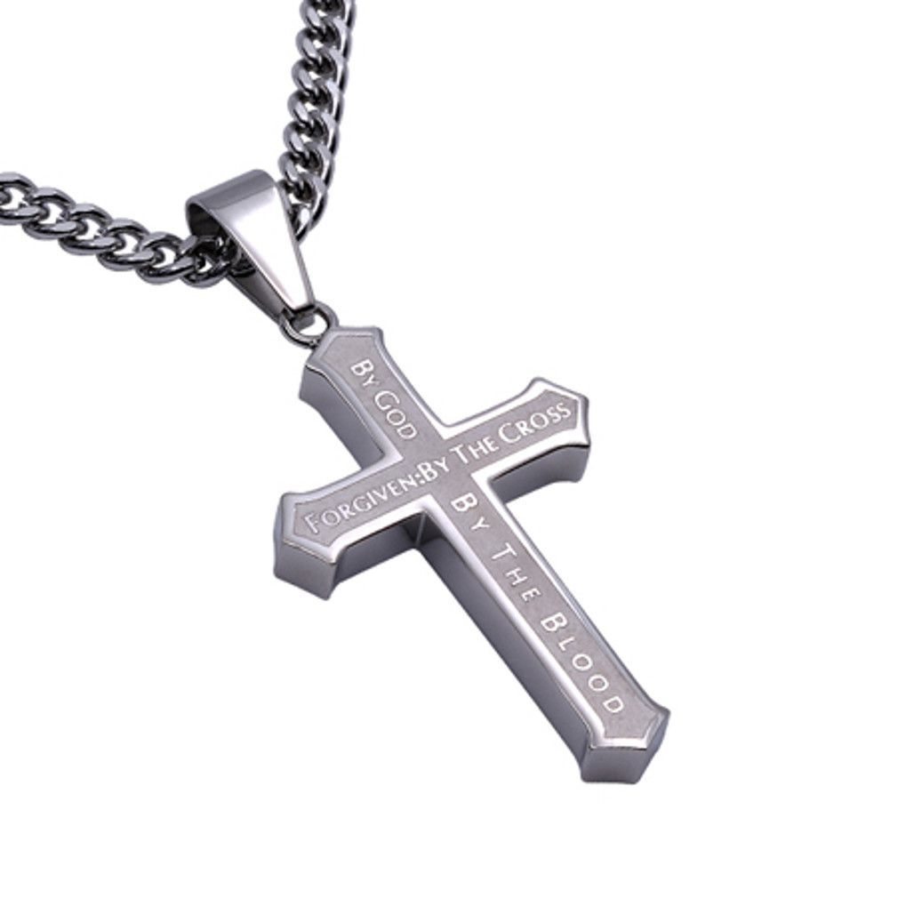 FORGIVEN Stainless Steel Cross Necklace with Satin Finish