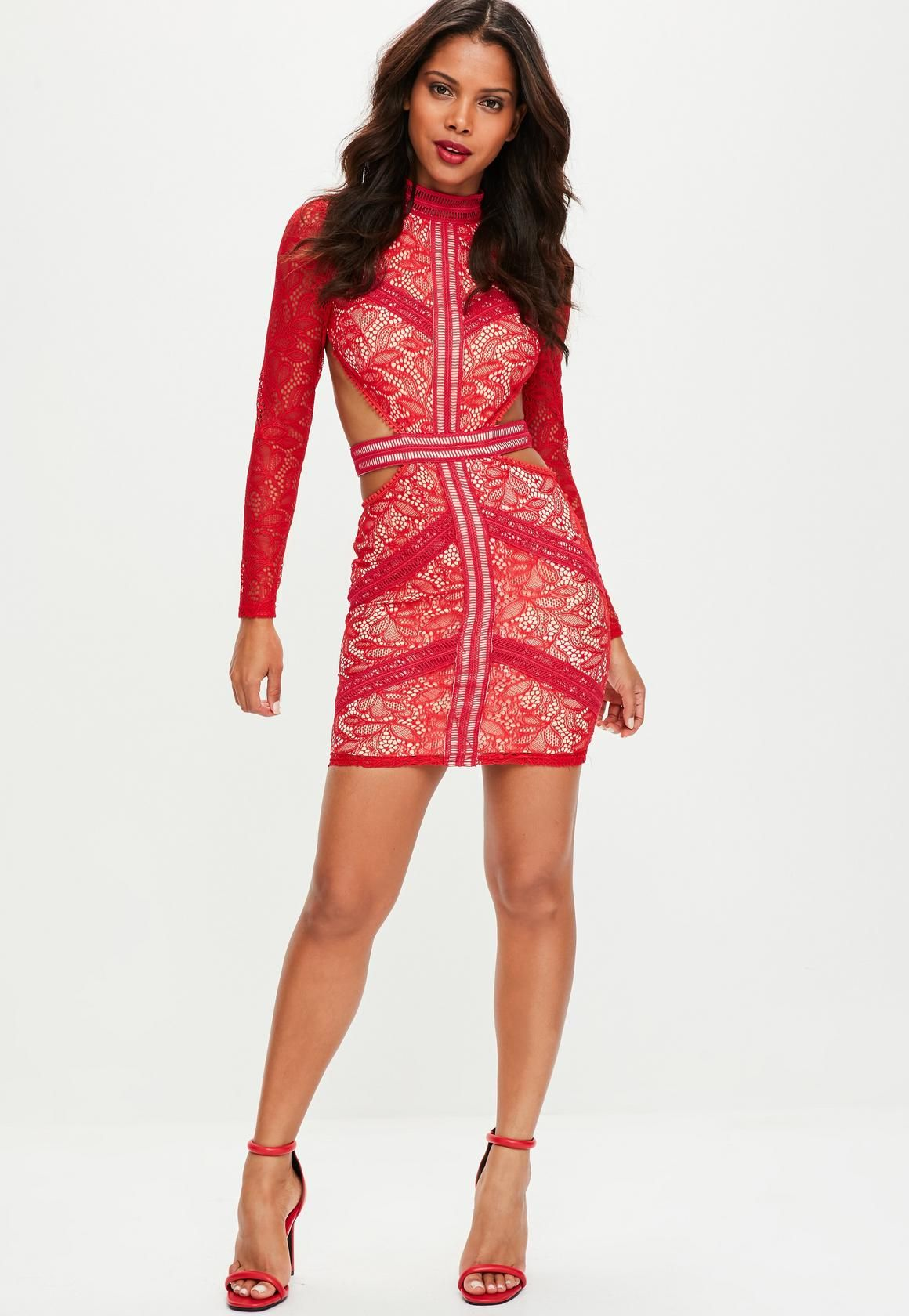 High Neck Lace Cocktail Dresses Backless