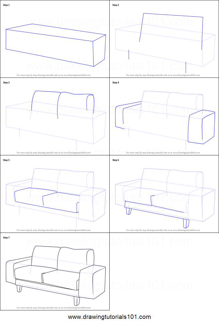 How To Draw A Couch Printable Step By Drawing Sheet DrawingTutorials101
