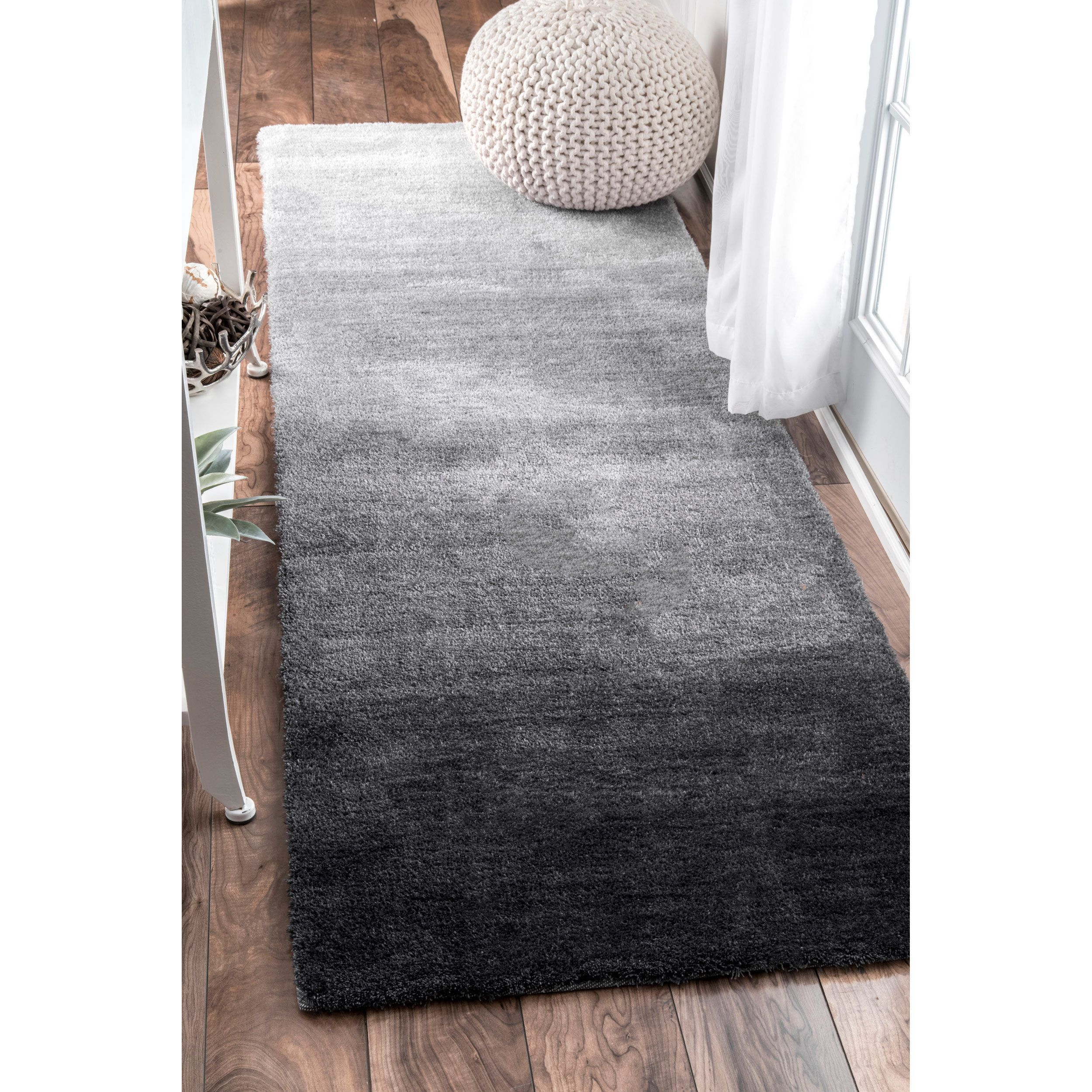 Nuloom Handmade Soft And Plush Ombre Grey Runner Rug 2 6 X 8 Size Synthetic Solid