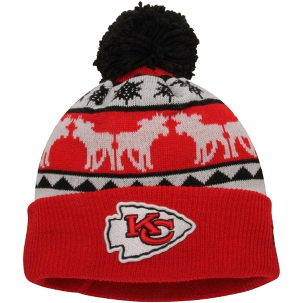 f0e7f38886e ... coupon code mens kansas city chiefs new era red gold mooser cuffed knit  beanie w pom